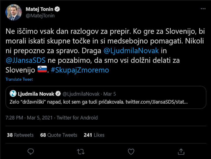 Matej Tonin naively tweeting that Janez Janša and Ljudmila Novak should get along.