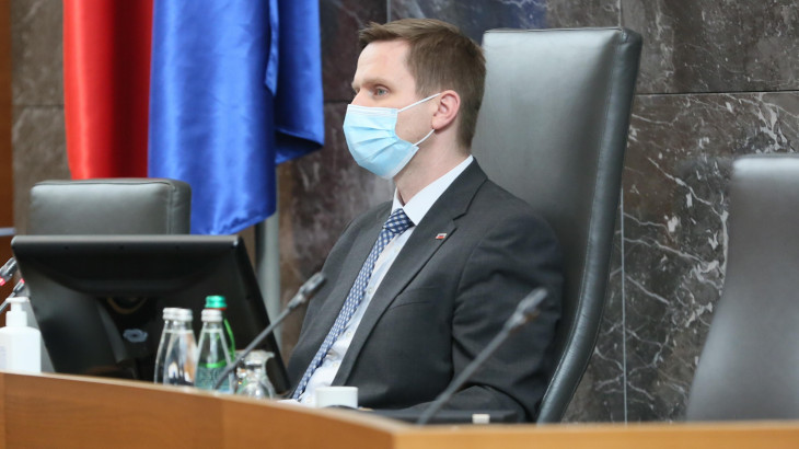 Speaker Igor Zorčič in a parliamentary session.