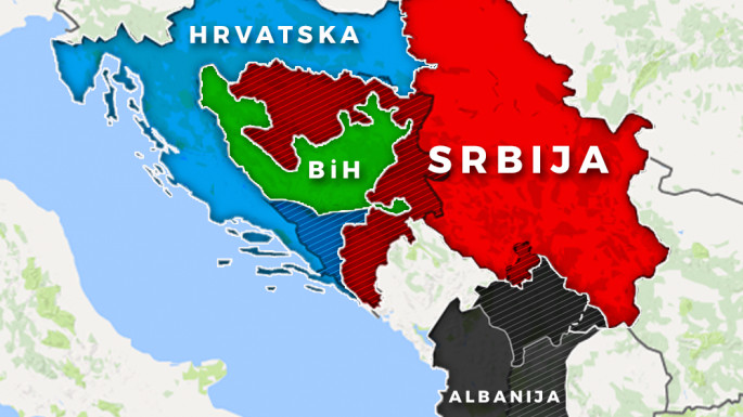 A mock-up map of former Yugoslavia with broken-up Bosnia-Herzegovina and Kosovo, as described in the infamous Slovenian non-paper.