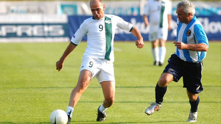 Image of Janez Janša playing football in 2007, 13 years prior the European Super League controversy.