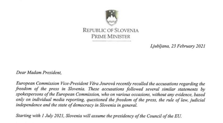 Beggining of Janez Janša's letter to Ursula von der Leyen