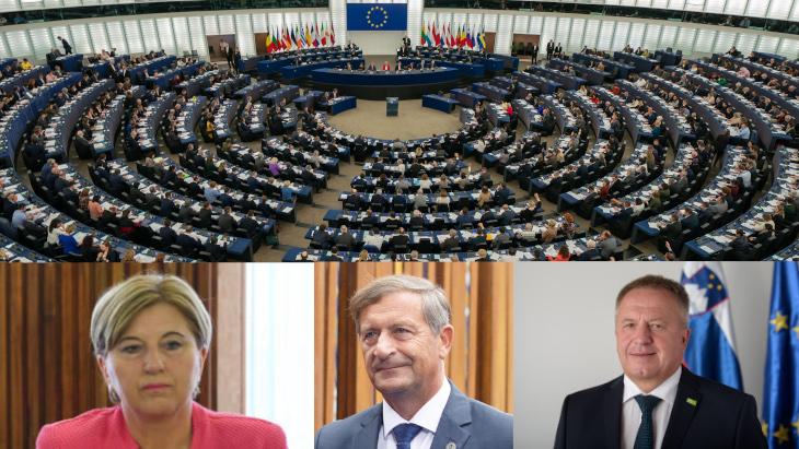 Image of European Parliament with Ljudmila Novak, Karl Erjavec and Zdravko Počivalšek in Slovenia