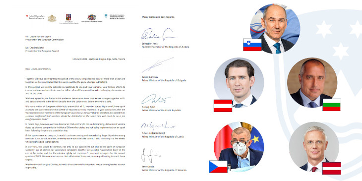 Photo of letter by PMs of Slovenia, Austria, Bulgaria, Czech Republic and Latvia, asking for more fairness in vaccine distribution