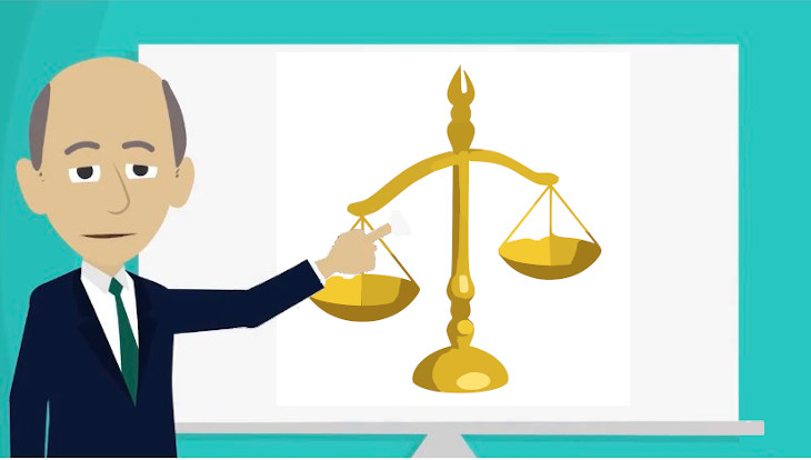 Clip-art bearing likeness to Janez Janša, giving finger to the system of checks and balances.