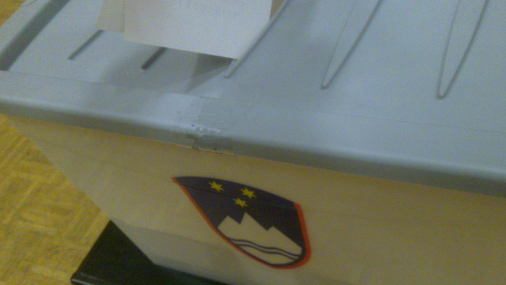 Photo of a ballot box used in Slovenian election.
