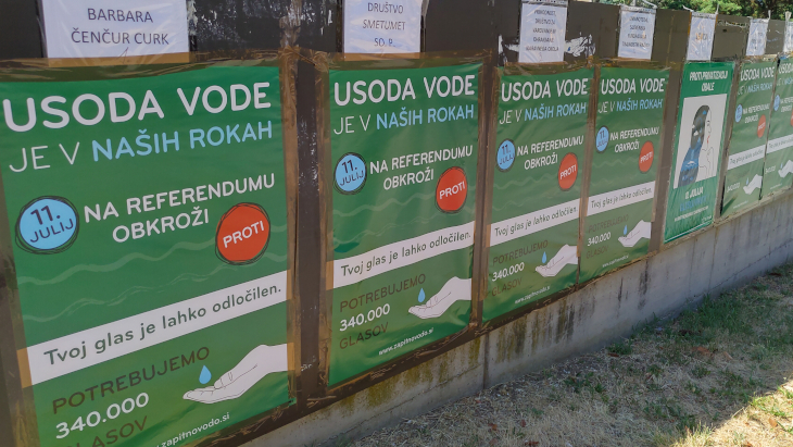 A row of posters calling for rejection of the controversial Waters Act, urging people that the fate of fresh water is in their hands.