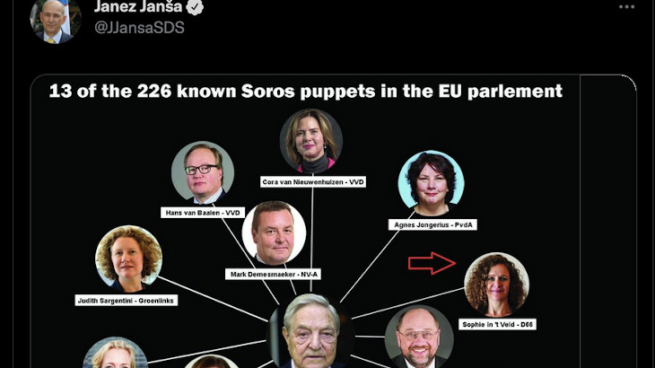 Janez Janša sends out an antisemitic tweet depicting George Soros at a centre of a conspiracy involing several MEPs